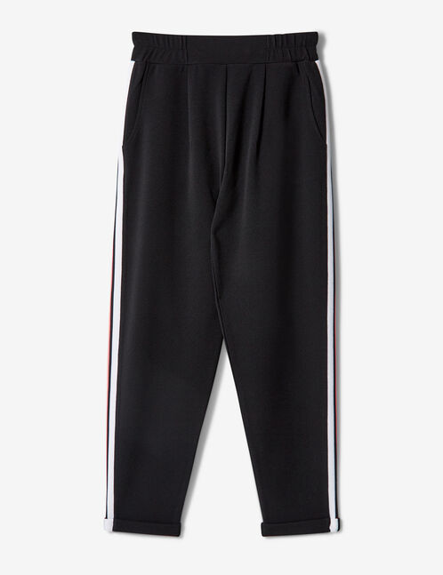 Black, neon pink and white joggers with striped side trim detail