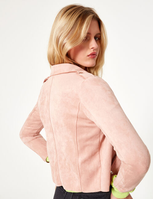 Light pink faux suede jacket