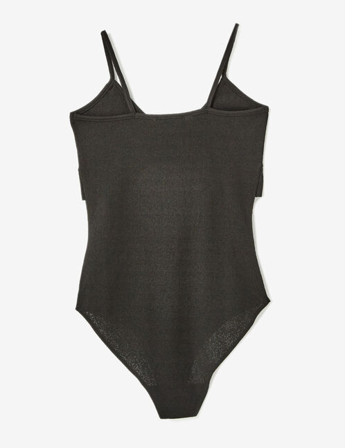 Black bodysuit with gathered strap detail