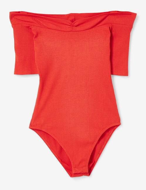 Red Bardot neck bodysuit