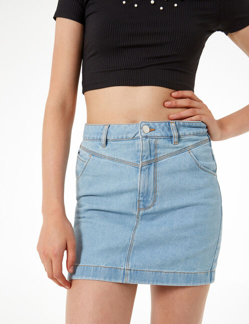 denim skirt with cutouts