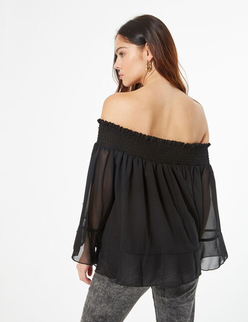 blouse with pearl detail