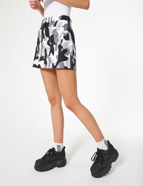 jupe camouflage boutonnée