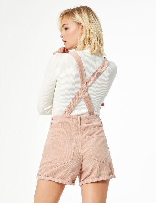 ribbed dungaree shorts
