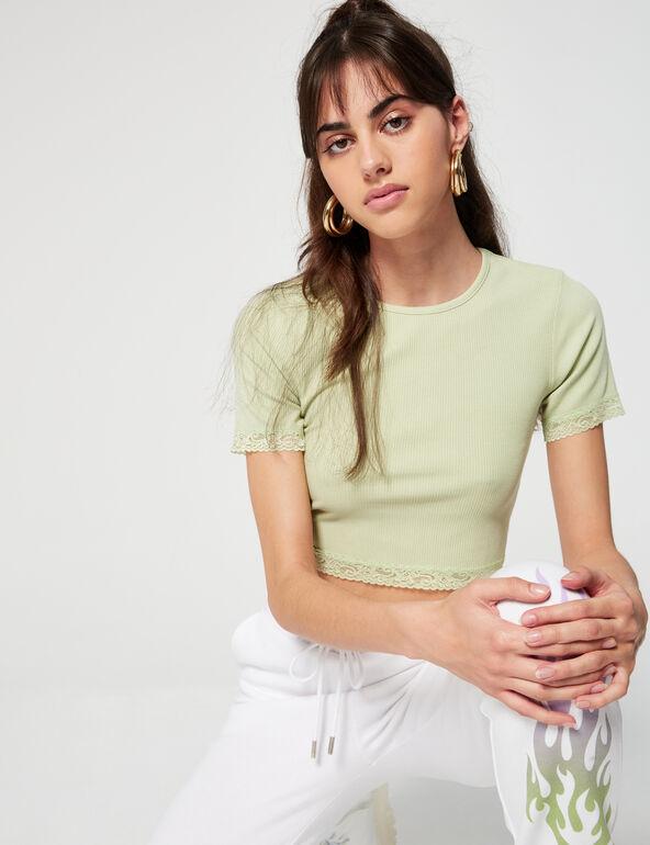 Tee-shirt côtelé et dentelle