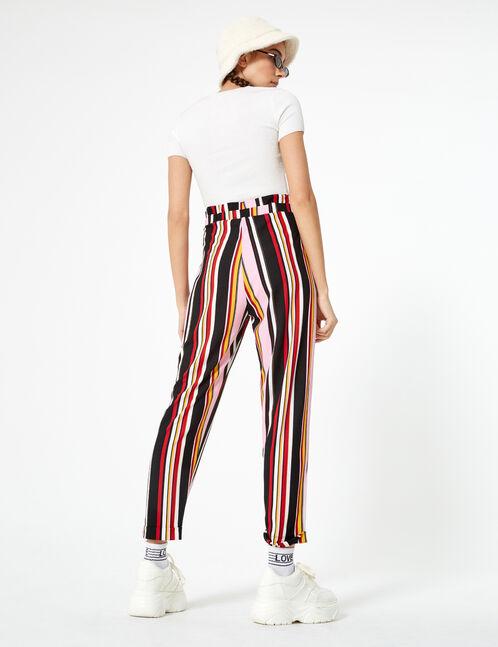 pantalon fluide rayé noir, blanc, ocre, rose clair et rouge
