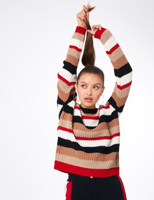 pull rayé noir, beige, écru et rouge