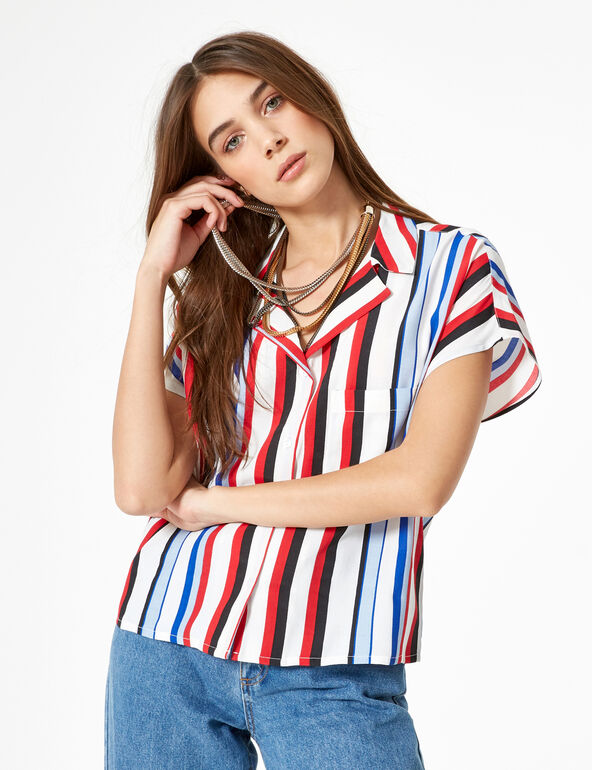 White, black, blue and red striped blouse