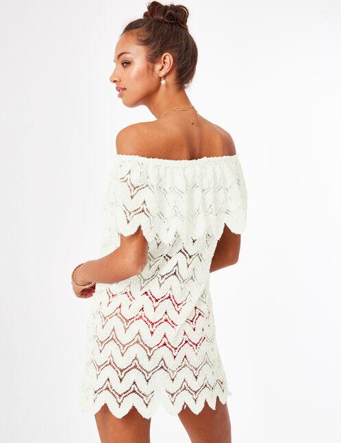 Cream lace beach kaftan