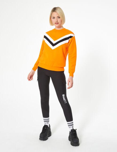 Orange sweatshirt with chevron detail