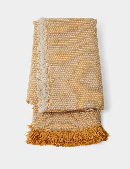 écharpe bicolore ocre et écrue
