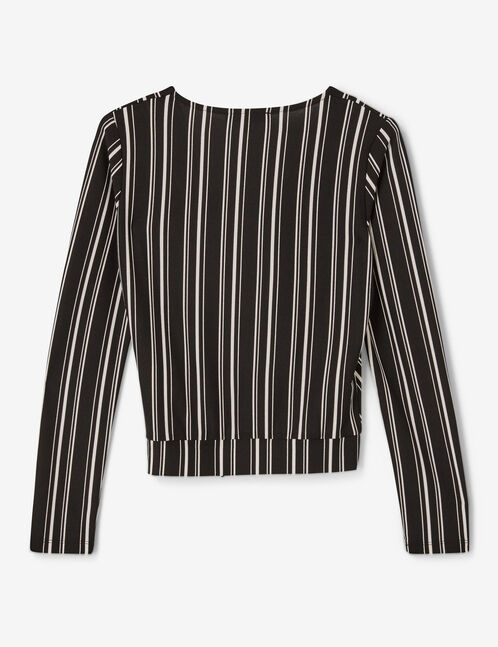 tee-shirt avec ceinture noir et blanc