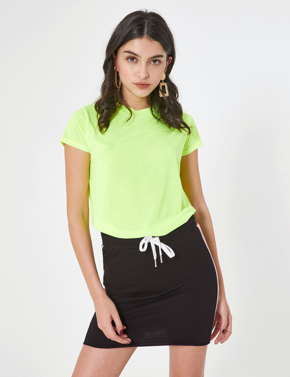 Black jersey skirt with side stripe detail
