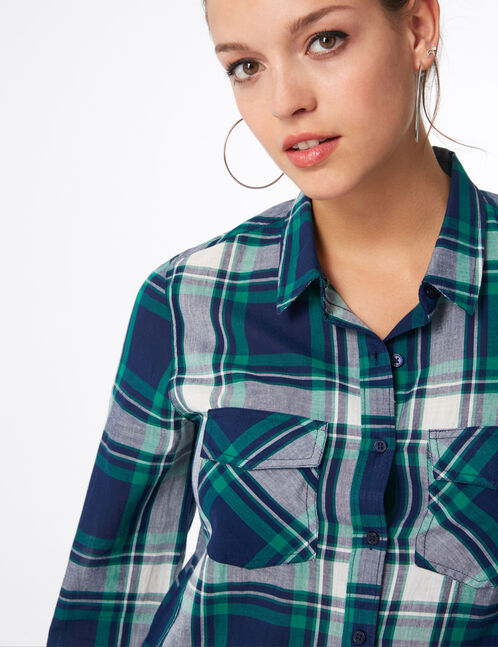 chemise à carreaux verte, bleue et écrue