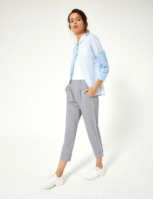 pantalon avec revers gris chiné et blanc
