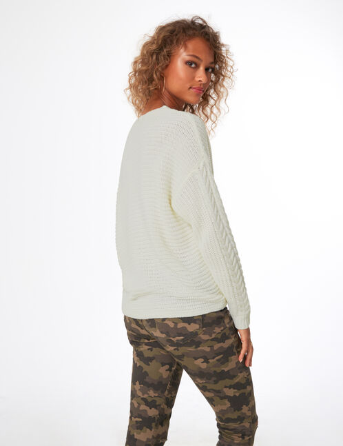 Cream jumper with lacing detail