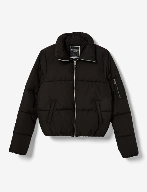 Black high-necked quilted jacket