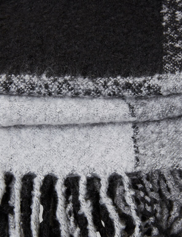Grey and black textured tartan scarf