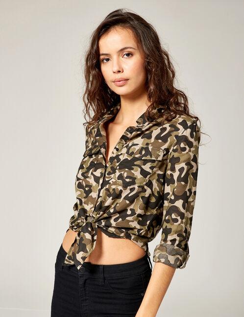 Khaki camouflage tie-fastening shirt