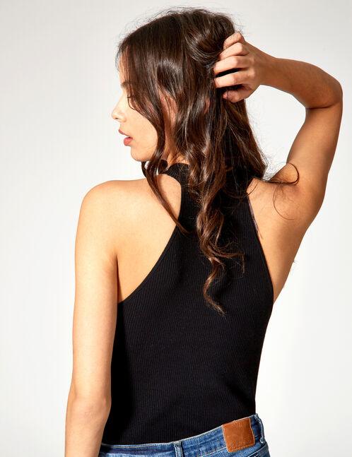 pull zippé sans manches noir