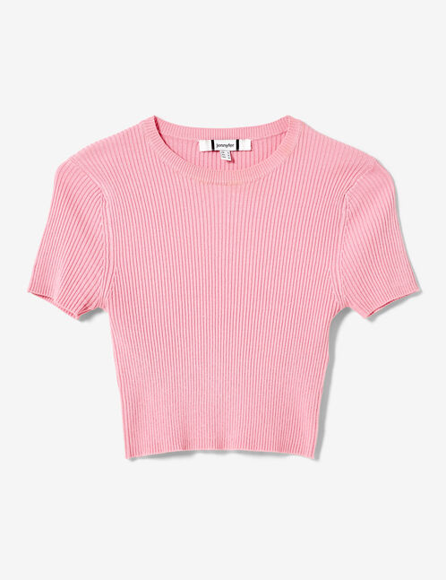 pull crop manches courtes rose