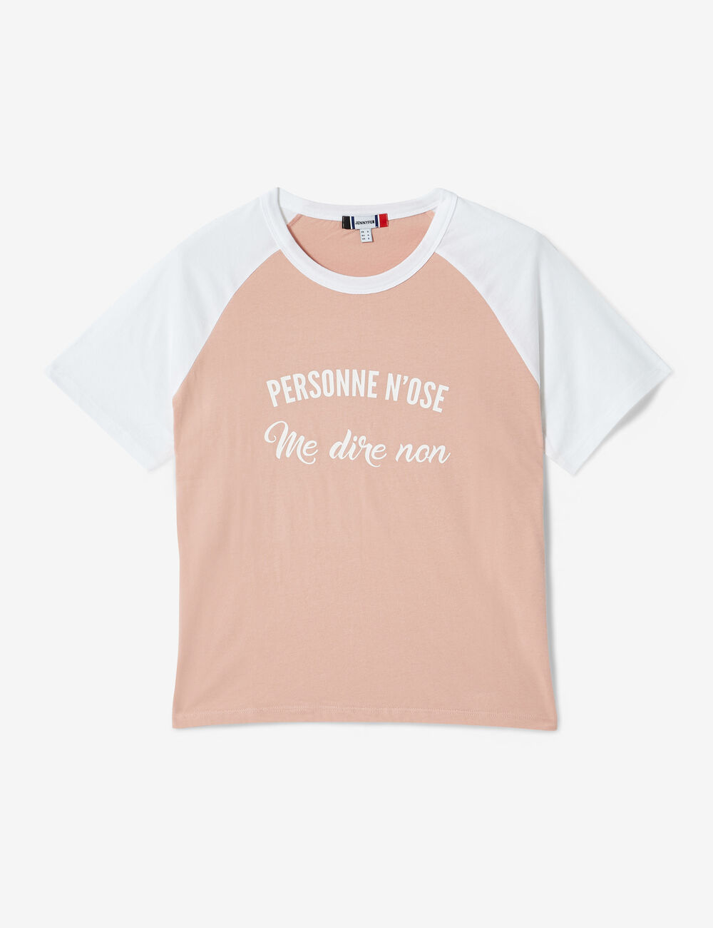 Light Pink And White Two Tone T Shirt With Text Design Detail Woman