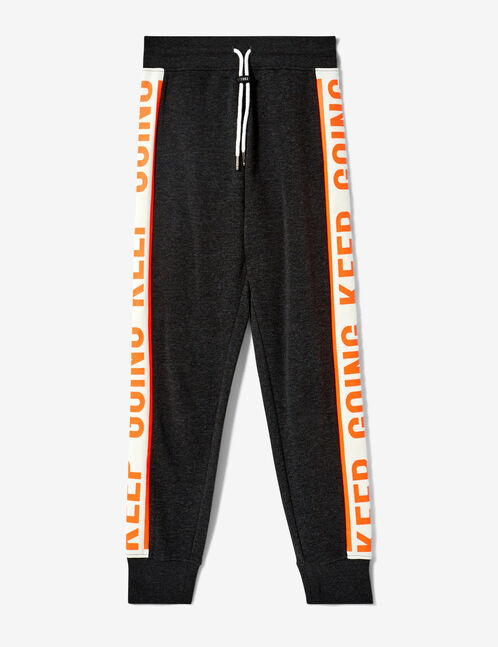 Charcoal grey, neon orange and white joggers with text design detail