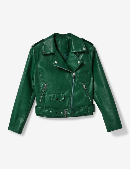 Green biker jacket with belt detail