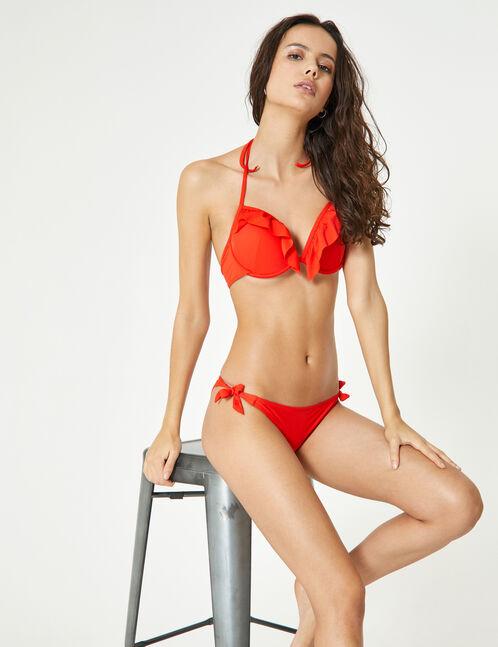 Red bikini set with frill detail