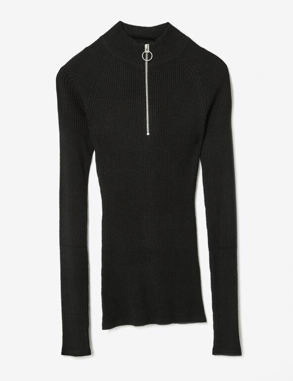 pull côtelé zippé noir