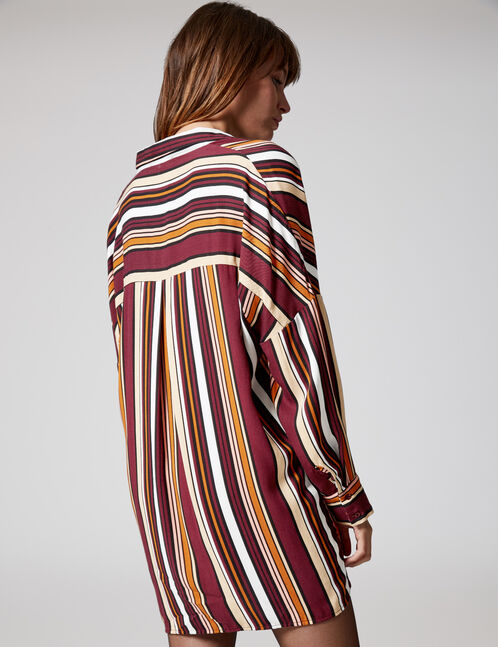 Long burgundy, pink, black, beige and white striped shirt