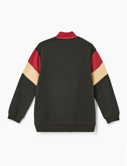 sweat priority tricolore bordeaux, beige et noir