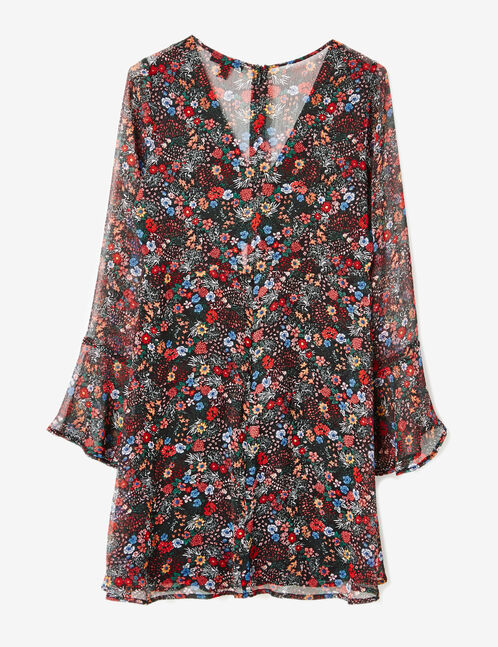 Black floral dress with frill detail