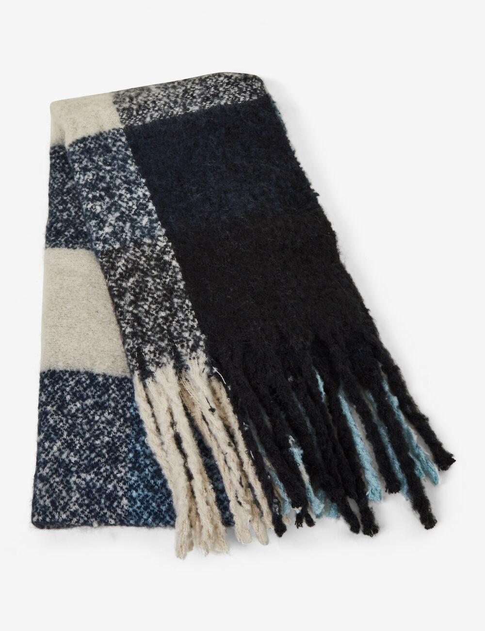 c7eeff36f2779 Écharpe à carreaux noire, écrue et bleue femme • Jennyfer