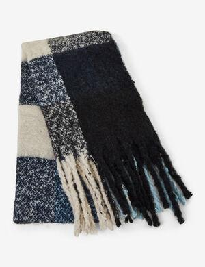 écharpe à carreaux noire, écrue et bleue