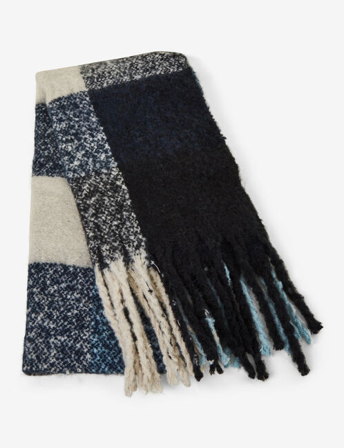 Black, cream and blue checked scarf