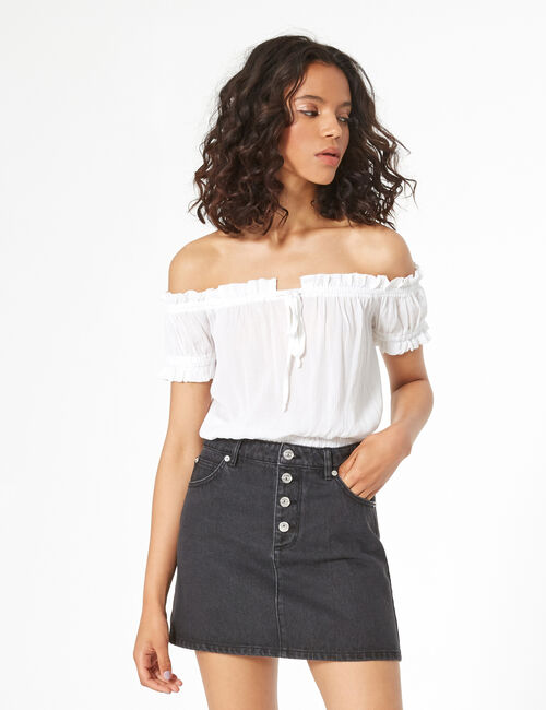 Loose-fit off-the-shoulder top