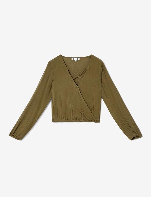 Khaki blouse with strap detail