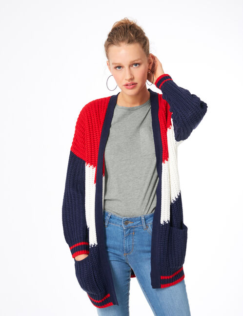 Navy blue, red and white tricolour cardigan