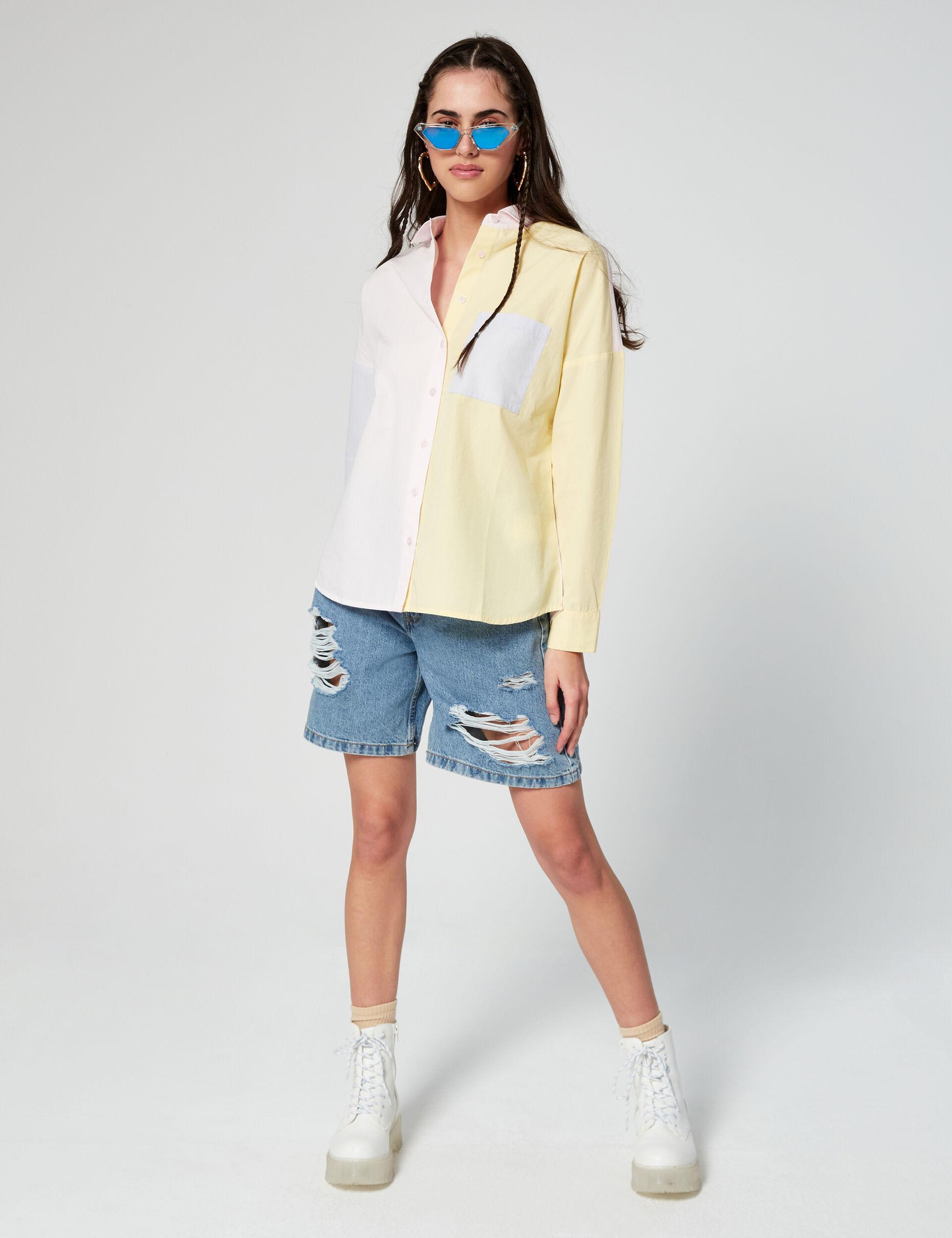 Colour block oversize shirt