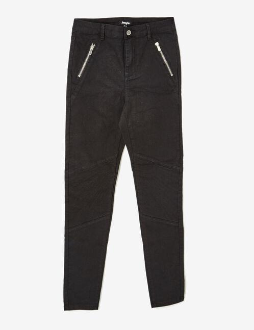 Black biker-style trousers