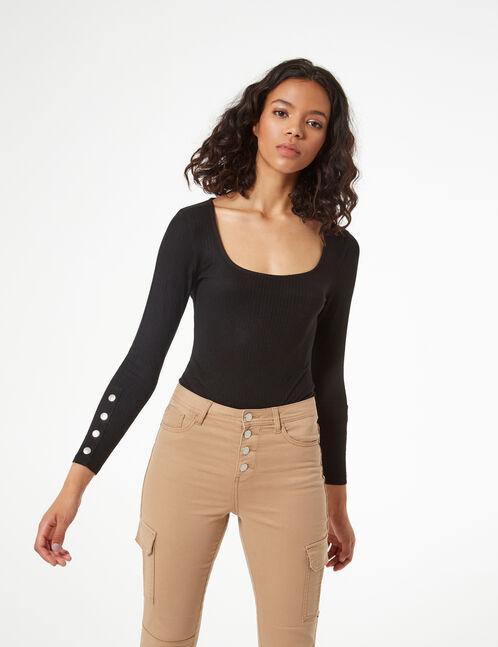 rib-knit bodysuit