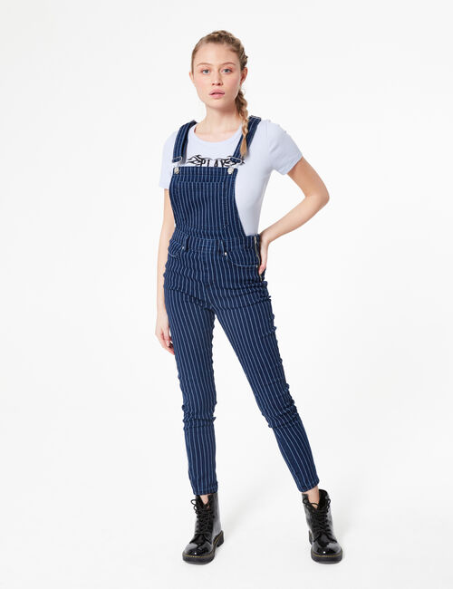 Striped skinny dungarees