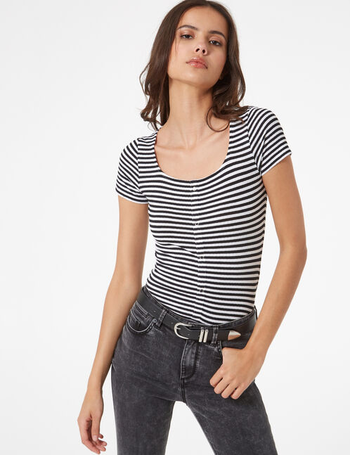 striped ribbed T-shirt