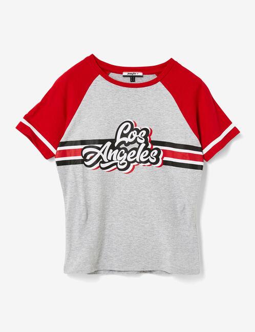"Grey marl and red ""Los Angeles"" print T-shirt"