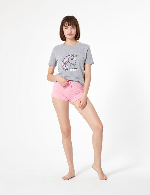 set pyjama licorne gris et rose