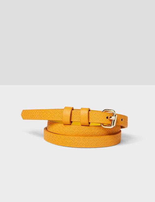 Yellow textured skinny belt