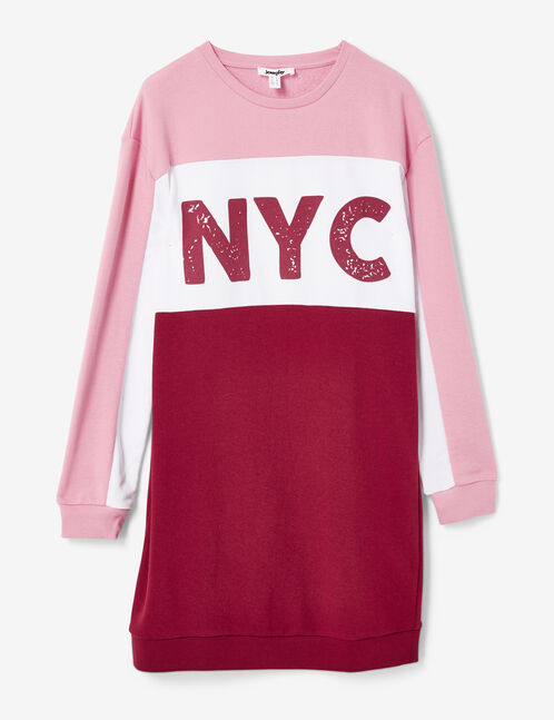 "Light pink, cream and burgundy ""NYC"" sweater dress"