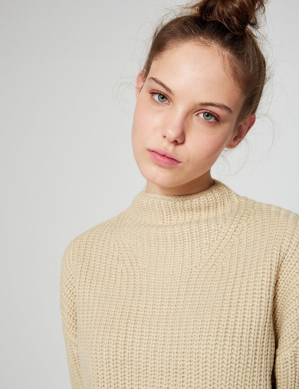 Cropped ribbed jumper