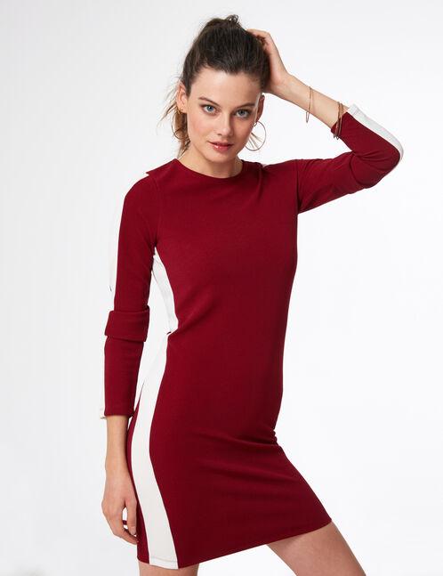 robe avec bandes côtés bordeaux